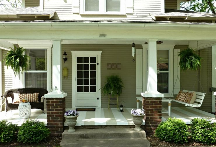 front-porch-lovely-front-porch-decorating-design-ideas-with-white-wood-single-front-door-including-half-brick-outdoor-pillar-and-cream-stripe-front-porch-flooring