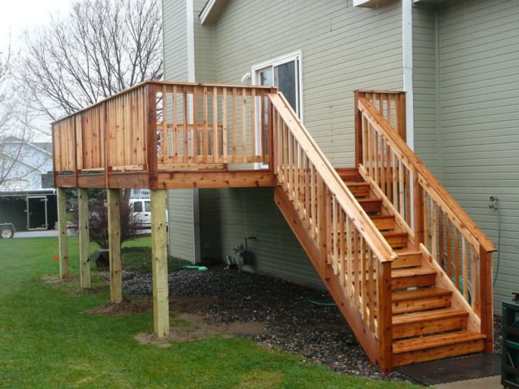 wooden porch stair railing
