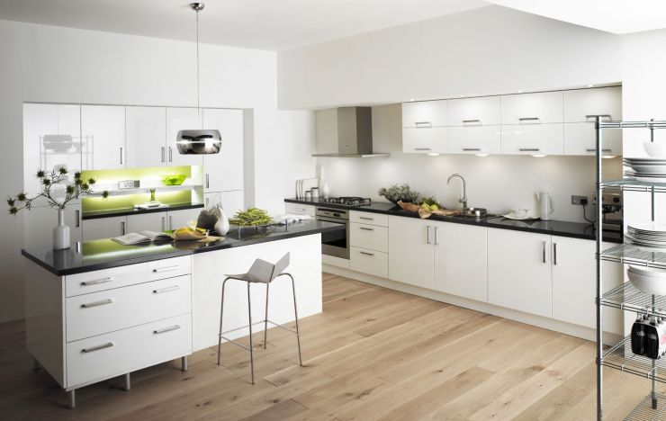 wondrous-white-kitchen-with-pendant-lamp-and-kitchen-island-furnished-with-high-barstool-and-then-completed-with-contemporary-white-kitchen-cabinets-plus-sink-and-oven-range