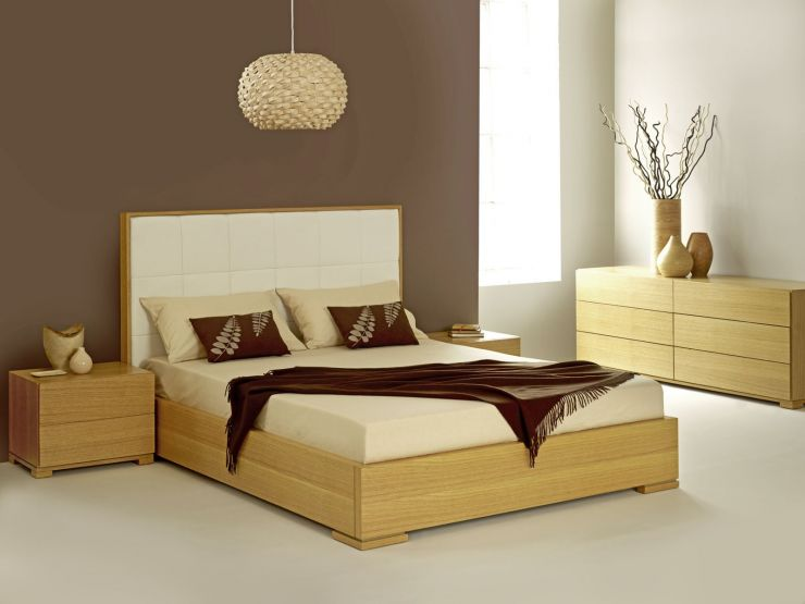 Modern Minimalist Suite Bedroom OAk Indian Wooden Bed Designs