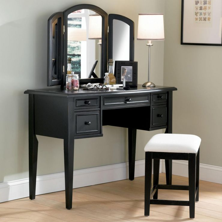 bedroom-furniture-custom-black-stained-teak-wood-dressing-table-having-fold-mirror-and-5-drawers-placed-in-light-gray-bedroom-bedroom-makeup-vanity-ideas-1
