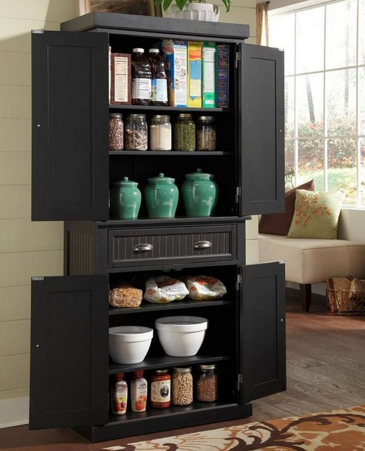 black-wooden-pantry-kitchen-storage-cabinet-having-single-drawer-and-6-tier-shelves-plus-4-swing-door-panel-as-well-as-pantry-closet-organizer-also-tall-kitchen-pantry-cupboard
