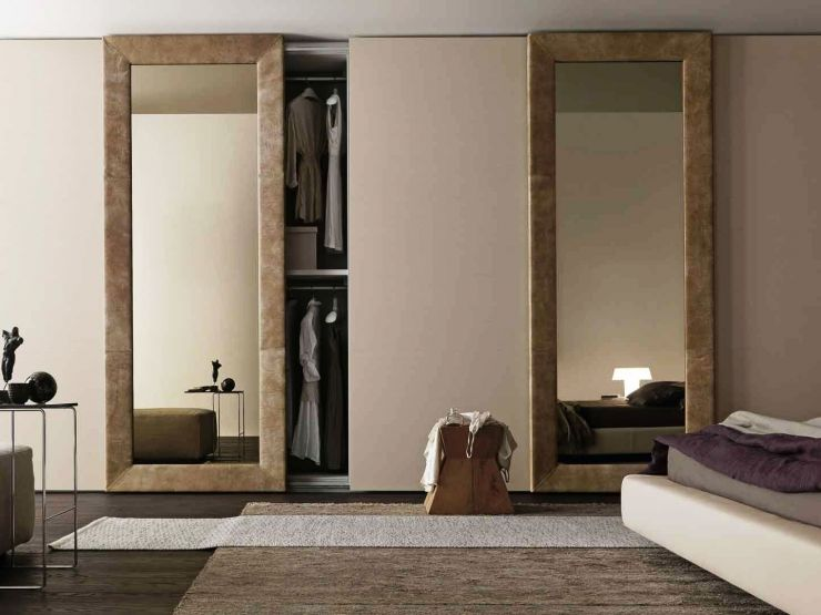 Stunning Mirrored Sliding Door Wardrobe Designs for Bedroom Italian