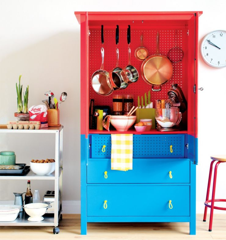 furniture-kitchen-funky-red-and-blue-glossy-wooden-pantry-cabinet-with-three-drawers-and-open-shelf-plus-pan-hook-portable-kitchen-pantry-cabinets