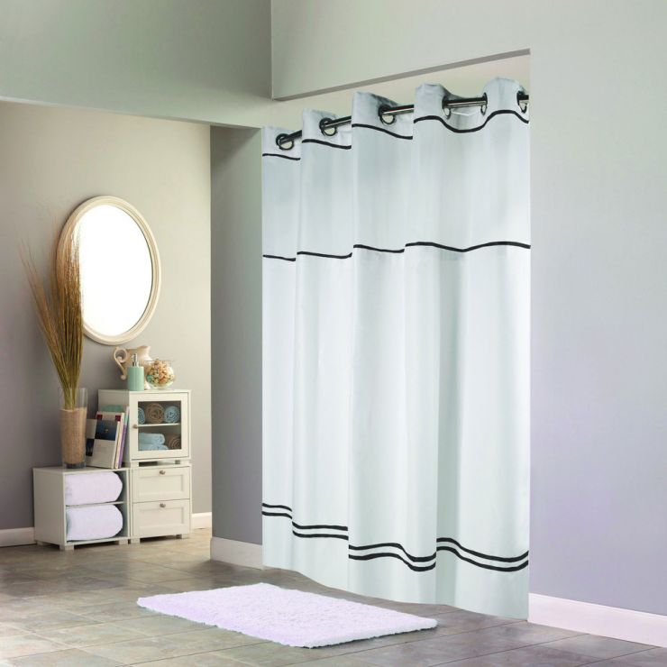 hookless-white-with-black-stripe-escape-shower-curtain-with-chrome-raised-flex-on-rings-its-a-snap-polyester-liner-with-magnets-and-poly-voile-translucent-window-71-x-77