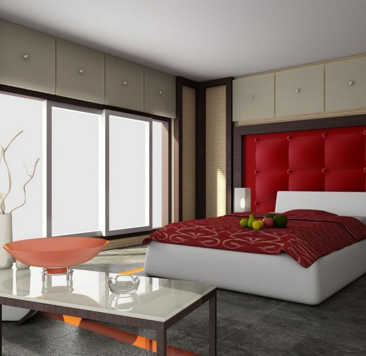 large-sliding-glass-window-also-glass-top-coffee-table-in-simple-red-bedroom-idea-plus-king-tufted-headboard
