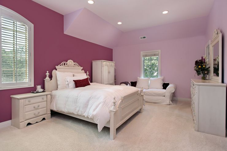 Girl's pink bedroom in luxury suburban home